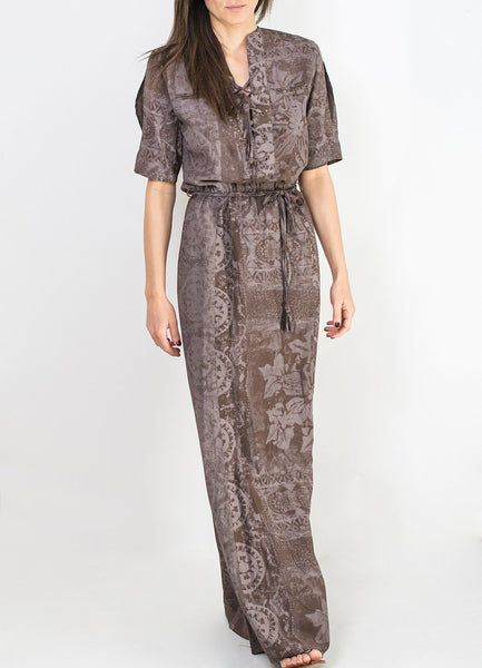 Grey and Brown Pattern Long Dress