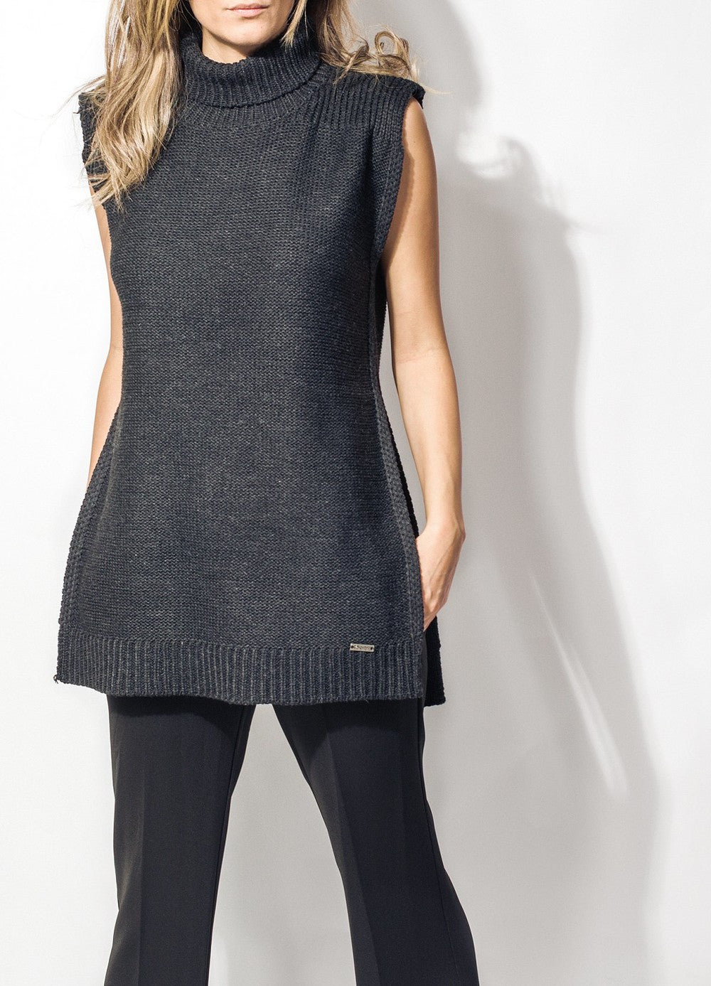 Sleeveless Black Sweater.