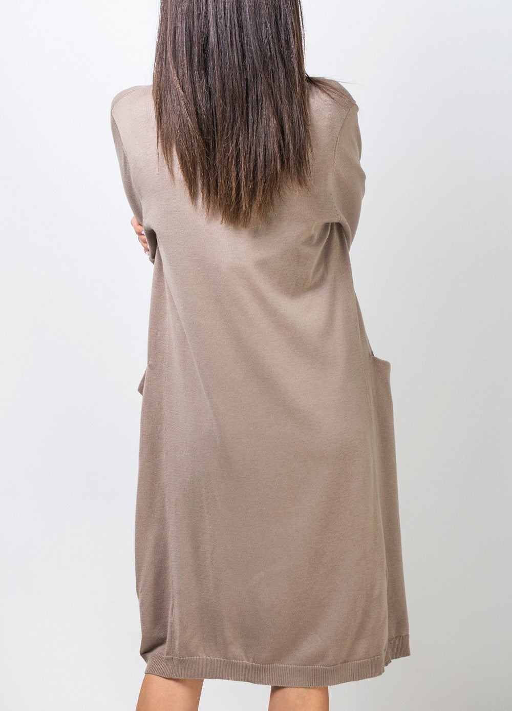 Long Sand Color Cardigan