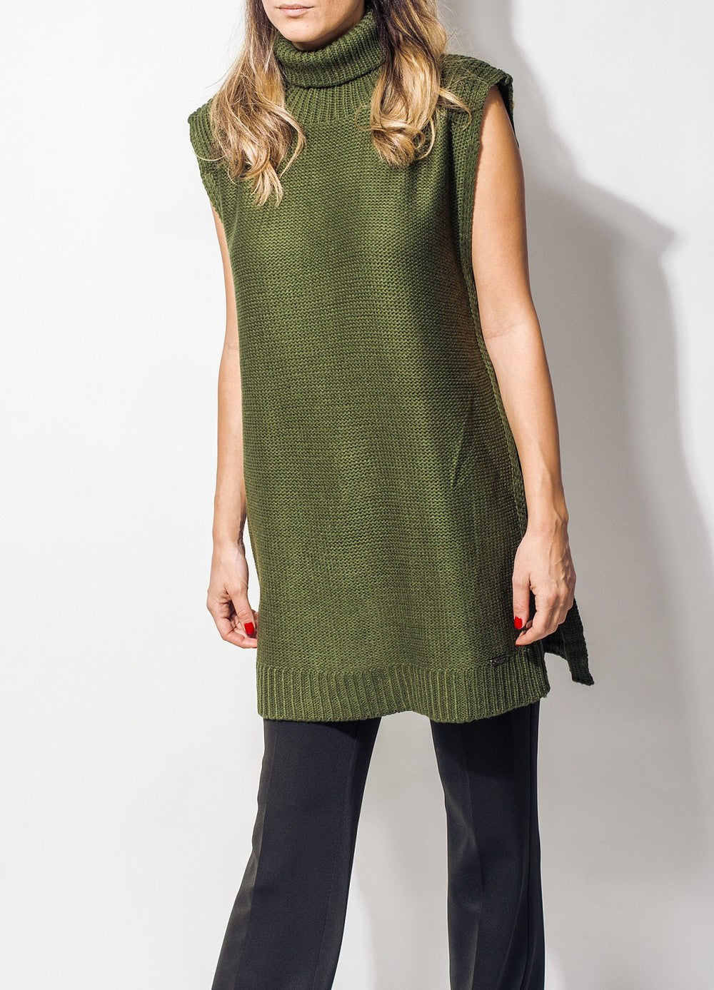 Sleeveless Dark Green Sweater