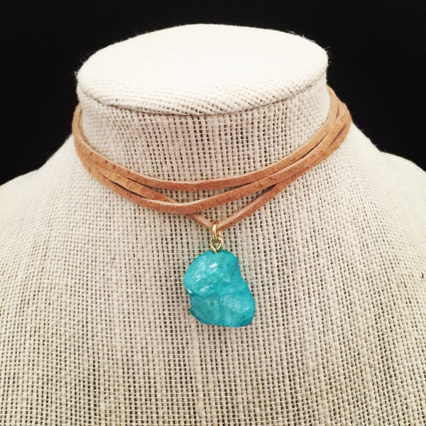 Bright Turquoise Stone Wrap Choker