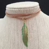 Gold Foil Green Feather Choker