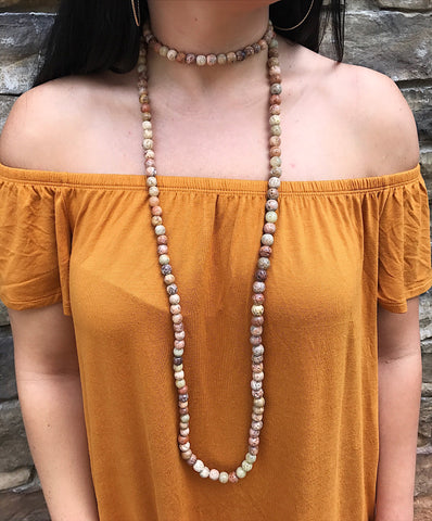 Camel Boho Bead Layered Necklace