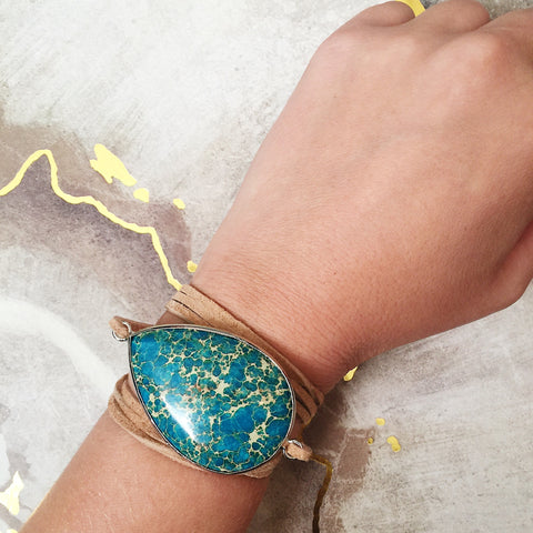 Speckled Blue Stone Wrap Bracelet