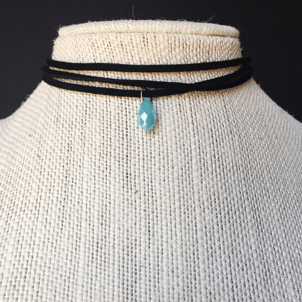 Light Blue Crystal Suede Choker