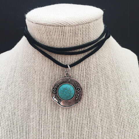 Vintage-Plated Turquoise Choker