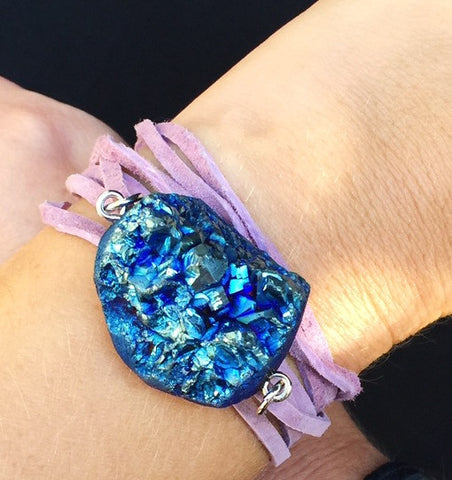 Iridescent Purple Wrap Suede Bracelet