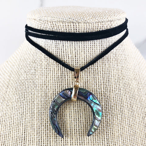 Abalone Shell Double Horn Suede Choker