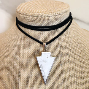 White Arrow Suede Choker