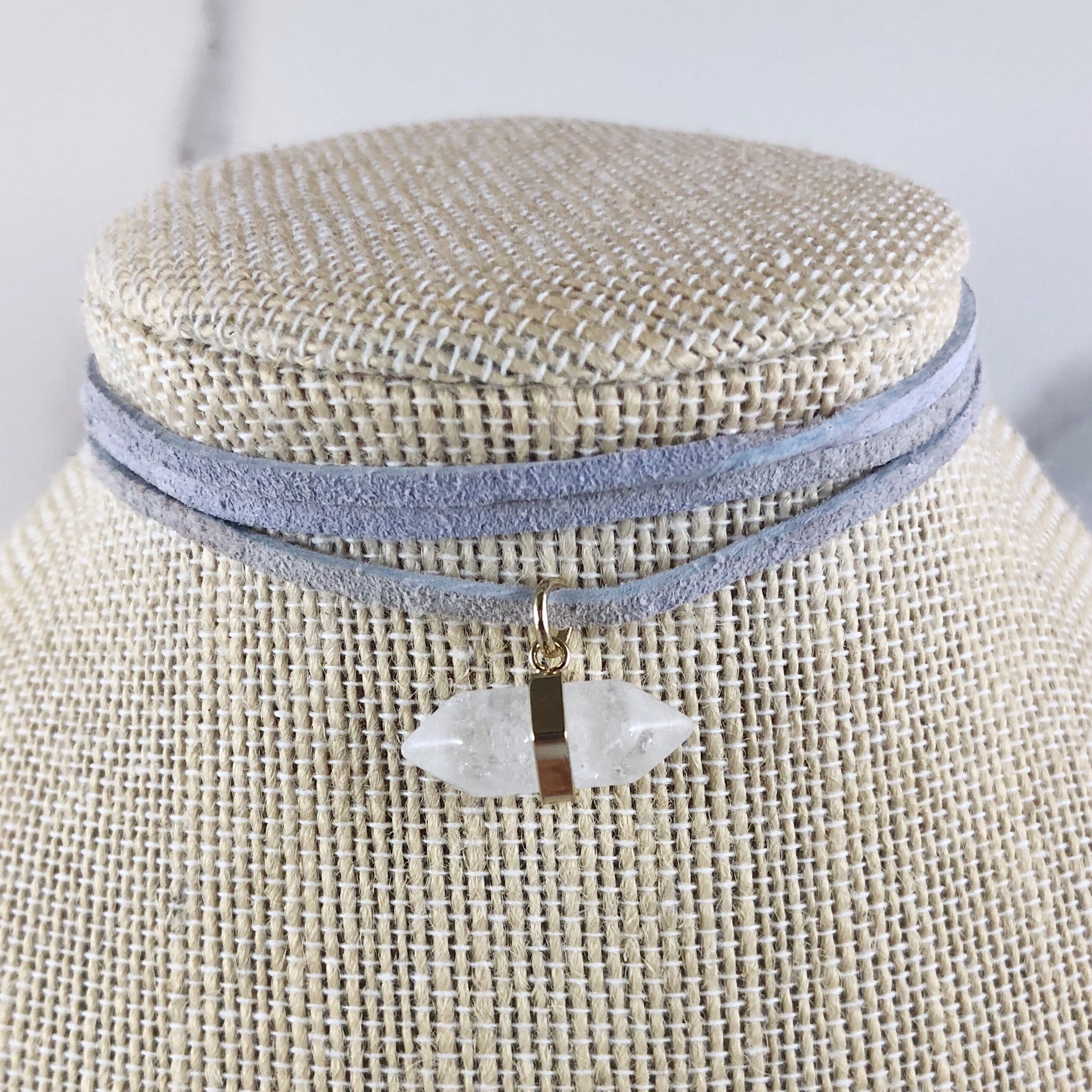 Double Point Clear Crystal Suede Choker