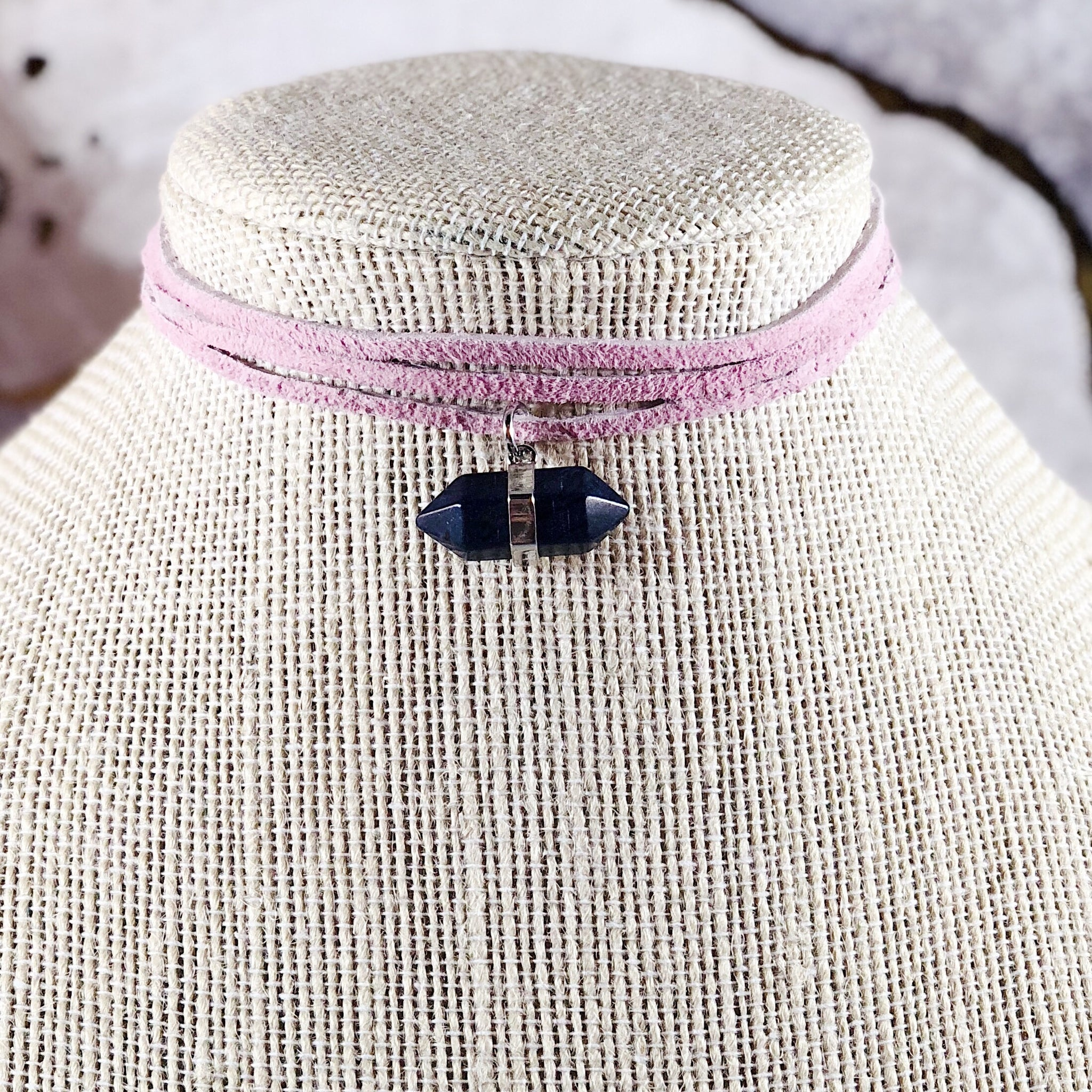 Double Point Slate Gray Suede Choker