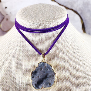 Stone Gray Suede Choker