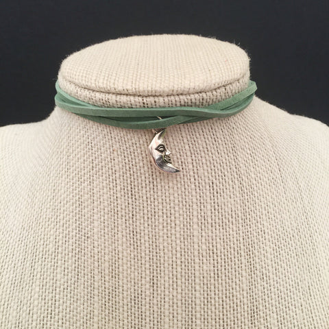 Crescent Moon Charm Suede Choker