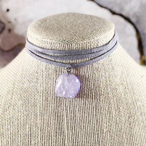 Icy Purple Druzy Suede Choker