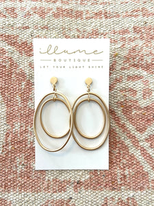 Double Halo Gold Earrings