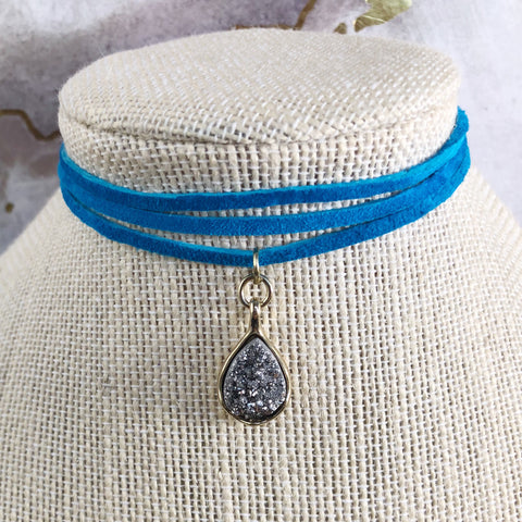Mental Health Awareness Gray Druzy Stone Choker - 25% gives back!