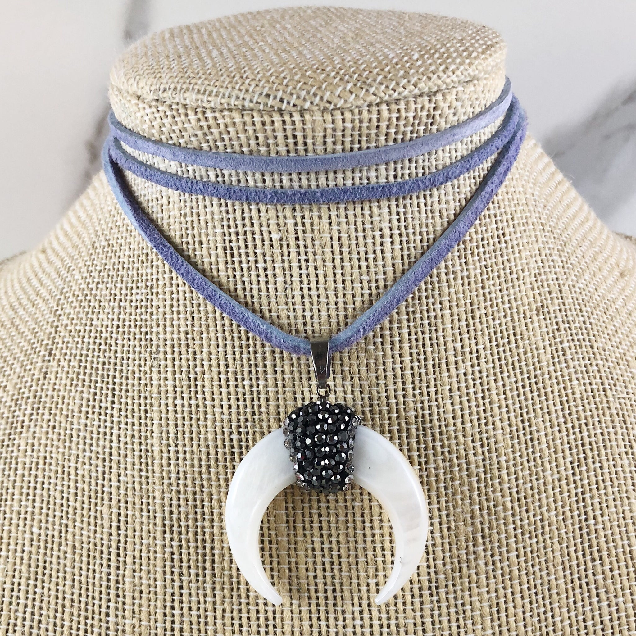 Mother of Pearl Double Horn Suede Choker