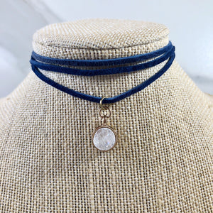 Arthritis Awareness White Pearl Druzy Stone Choker - 25% gives back!
