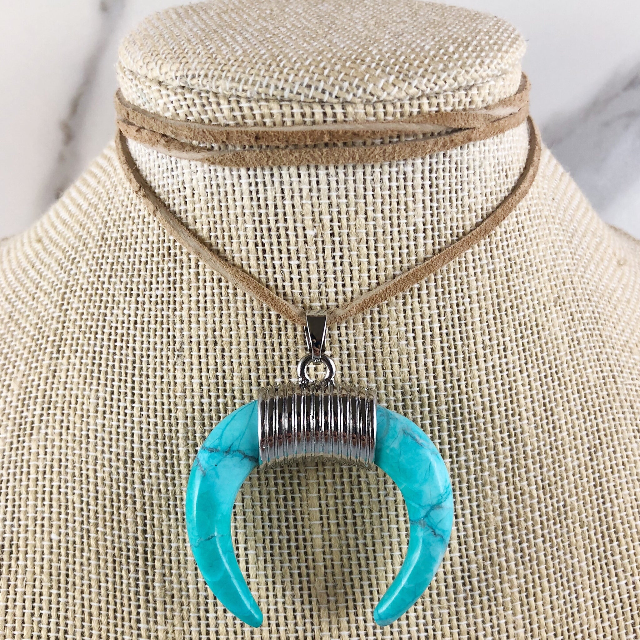Turquoise Double Horn Suede Choker