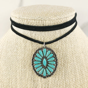 Fanned Turquoise Suede Choker