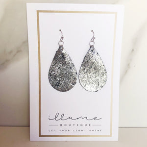 Silver Metallic & Black Teardrop Duo