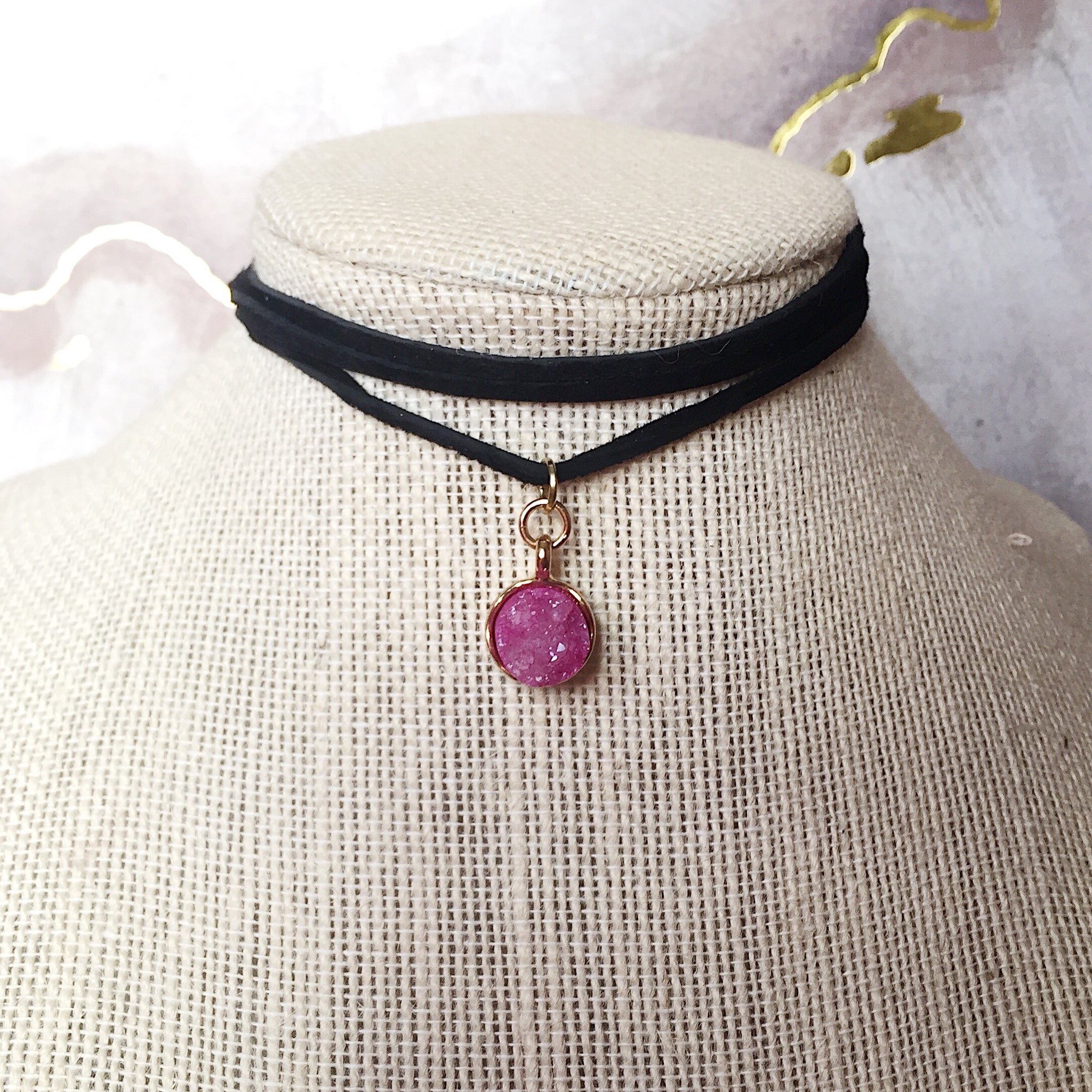 Hot Pink Druzy Stone Suede Choker