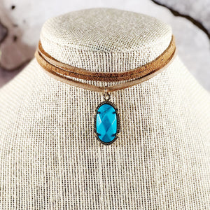 Turquoise Oval Pendant Suede Choker