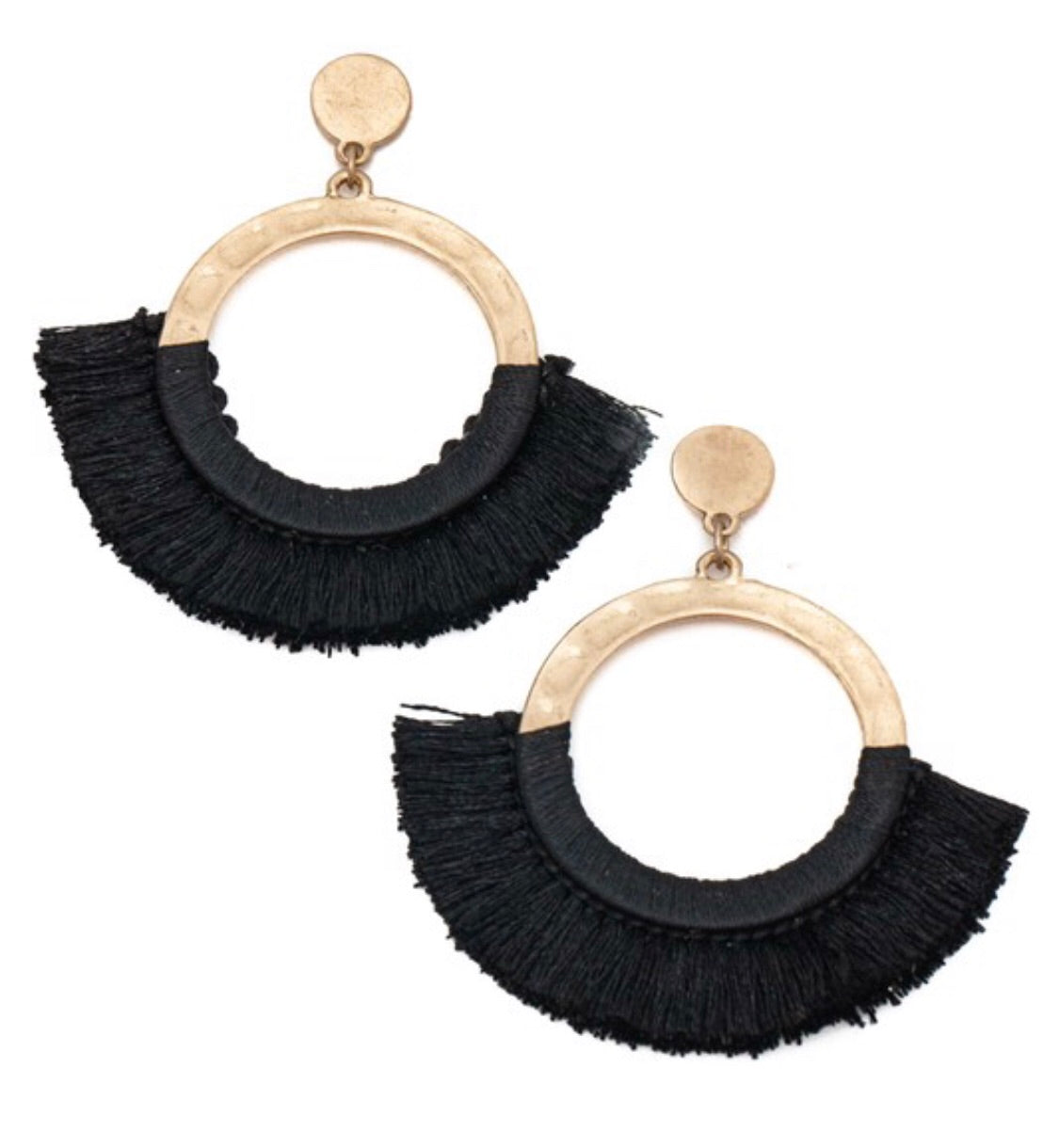 Round and Round Earrings in Black