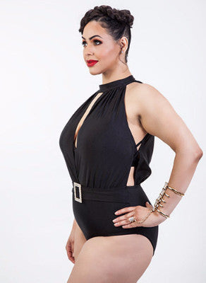 Hollywood Diva Pin-up Style Plus Size Swimsuit with Rhinestone Buckle