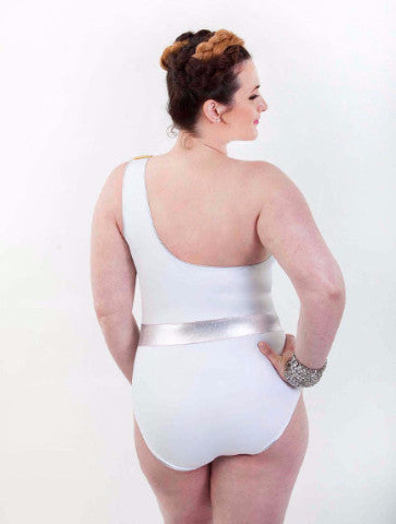 Goddess Asymmetrical Plus Size Swimsuit with Removable Strap