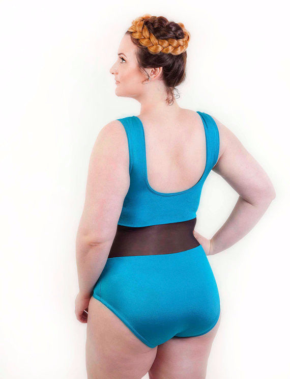 Optical Illusion Slimming Mesh Panel Plus Size Swimsuit