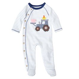 BLUE STRIPED TRACTOR APPLIQUE FOOTED SLEEPER
