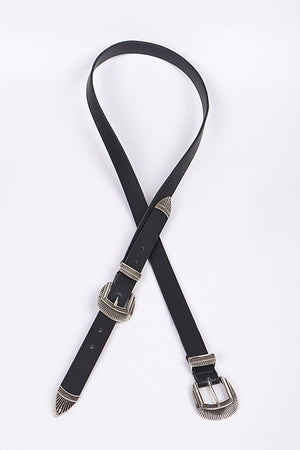 Double Buckle Belt, Black/Silver