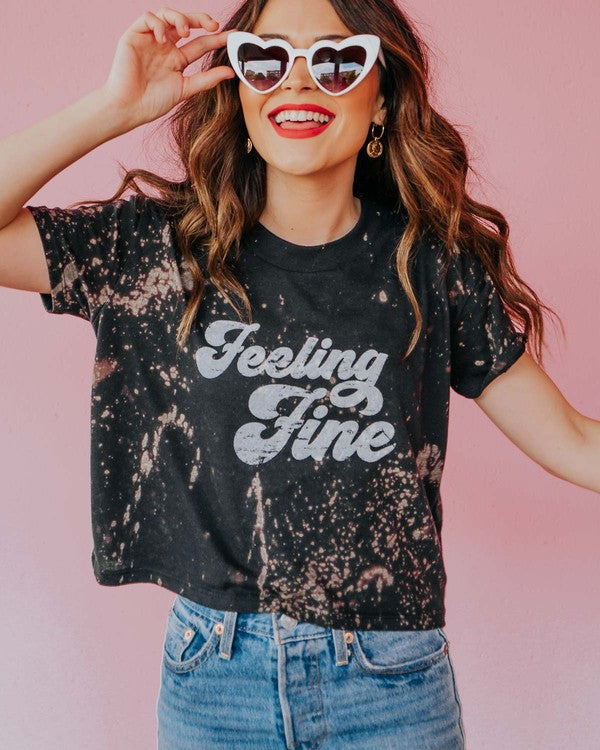 Feelin Fine Cropped Graphic Tee