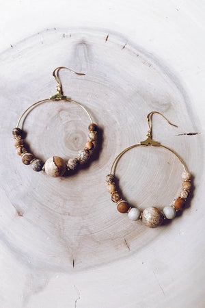 Cecelia Gemstone Earrings, Taupe Jasper