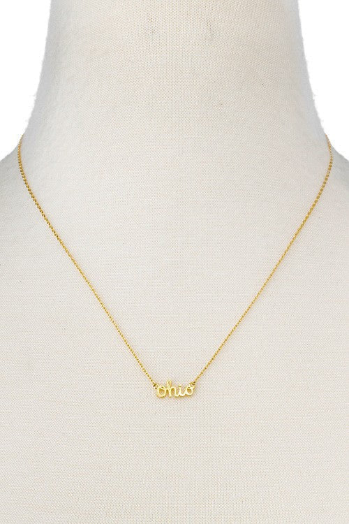 Ohio Script Necklace, Gold