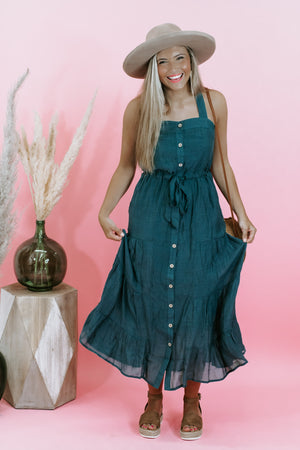 Serendipity Button Down Dress, Emerald