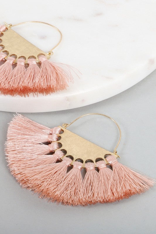 Make A Wish Tassel Earrings , Light Pink