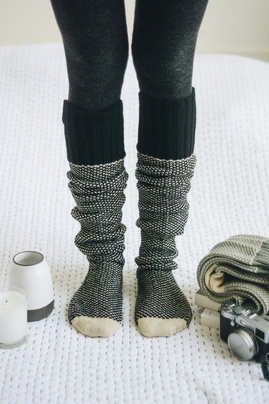 Knitted Lounge Socks, Black