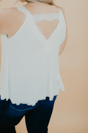 Look The Part Lace Tank, Ivory