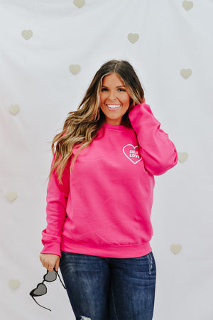 Self Love Crewneck, Hot Pink