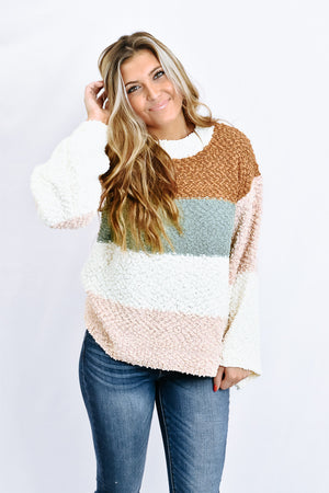 Simply Striped Sweater, Caramel/Pistachio