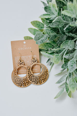 Cecilia Wood Earring, Tiered Pomegranate