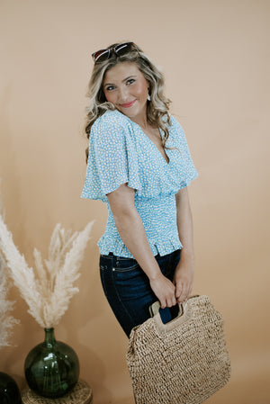 Eliana Smocked Top, Powder Blue