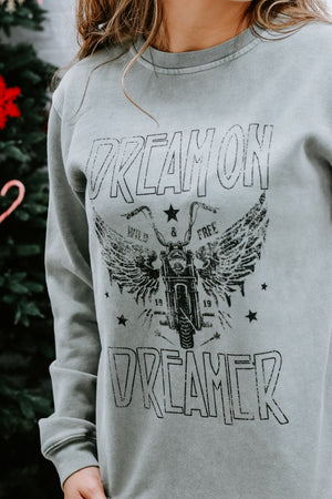 Dream On Dreamer Crew Neck, Olive