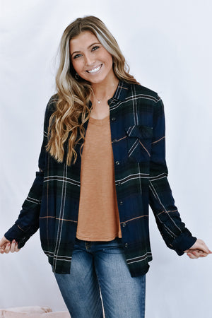 Aiden Flannel Shirt, navy/green