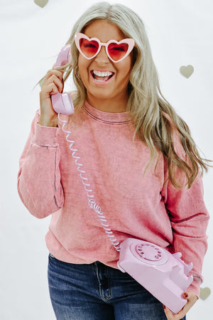 Make A Statement Mineral Wash Sweatshirt, Pink