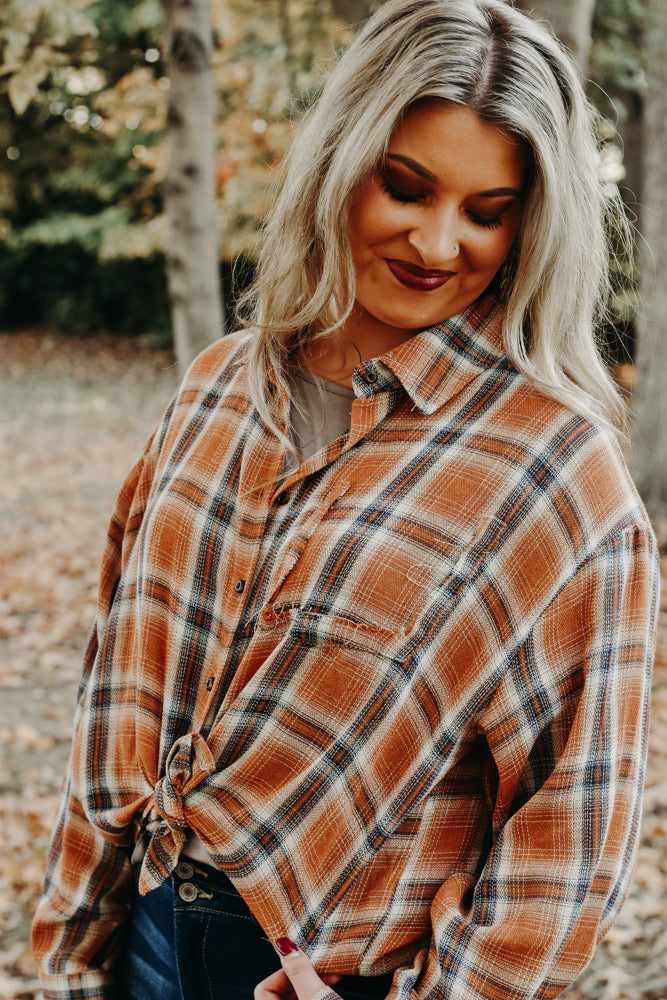 Alexa Flannel, Rust/ Navy