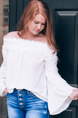 Go With The Flow Top , White