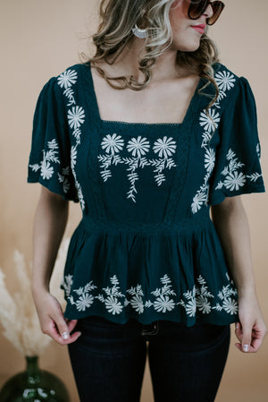 Kasha Embroidered Top, Emerald